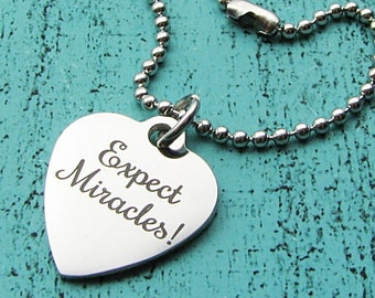 Expect Miracles Necklace or Keychain Ornament, Recovery Gift Under 15, Tough Hard Time, Small Gift Inspirational Charm for Purse Bag Planner