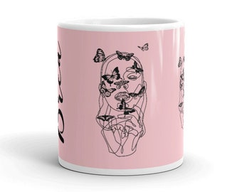 Name Butterfly Woman Face Mug, Personalized Gift, Warrior Empowered Women Mom Birthday Gift, Custom Color, Her Coffee Cup, Feminist Gift