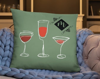 Wine Lover Couch Pillow, Personalized Gift, 18 x 18 22 x 22 Pillow Cover Insert Included, Decorative Pillow for Sofa or Bed, Custom Color