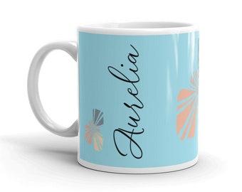 Sun with Name Personalized Mug, Custom Color, Tea Coffee Lover Gift, Christmas Birthday Gift, Small or Large Ceramic Mug Cup, Cute Boho Gift