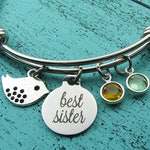 best sister bracelet, Mother's Day gift, sister's birthday gift for her, bird jewelry, best friend gift, graduation gift, birthstone