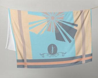 "Boho Sunshine Throw Blanket, Custom Color and Initial, Girls Teens Women Birthday Gift, Christmas Gift, Soft Cozy  Lap Blanket 50"" x 60"""