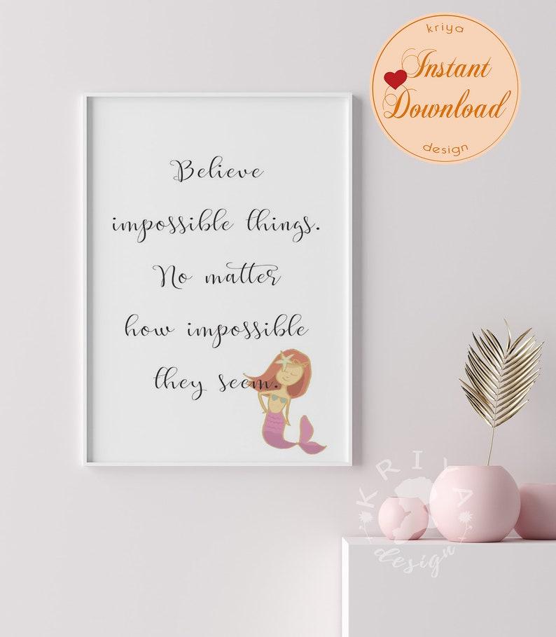 Daughter Nursery Playroom Girl Room Decor Believe Printable Wall Art Positive Affirmation Quote Poster Mermaid Art Manifestation Print