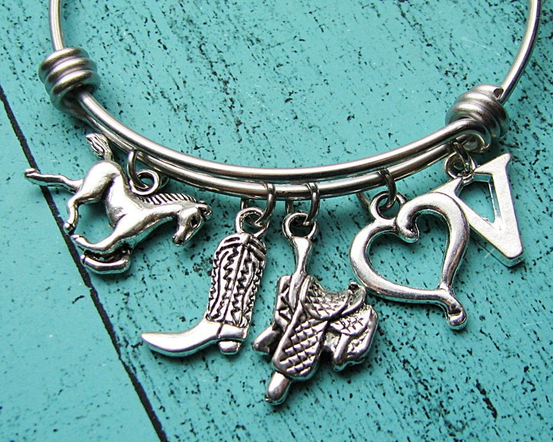 cowboy boot cowgirl western jewelry country girl gift horse bracelet personalized initial Christmas gift for cowgirl horse lover gift
