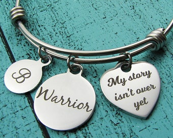 Mental Health Awareness Bracelet, Depression Anxiety Warrior Gift, Self Love Survivor Jewelry, Recovery My Story Isn't Over Yet Strong Woman