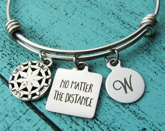 long distance relationship, going away gift bracelet, no matter the distance, moving away gift best friend, friendship compass travel