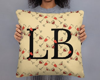 Cute Wine Pillow Case with Insert, Love Drinking Wine Gift, Personalized Initial and Color, Decorative Couch or Bed Throw Pillow, Wine Lover