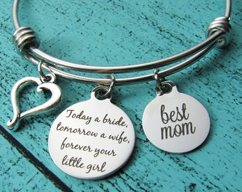 wedding gift for mom, mother of the bride gift, bridal gift for mom from daughter, today a bride tomorrow a wife forever your little girl