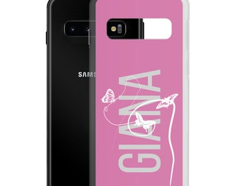 Name Samsung Galaxy Phone Case, Boobies Butterfly Art, 21 20 FE Plus Ultra S10E Case, Feminist Birthday Gift, Custom Accessories for Women