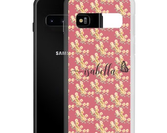 Name Samsung Galaxy Case, Custom Color, Personalized Gift for Flower Lover, S21 Ultra Plus S20 FE S10 E Plus Case, Whimsy Flower Butterfly