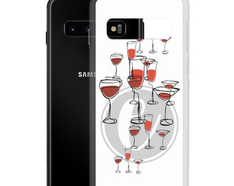 Personalized Initial Samsung Phone Case, Galaxy 21 20 FE Plus Ultra S10E White Case, Women Birthday Christmas Gift, Wine Lover Drinking Art