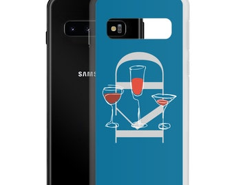 Initial Samsung Case, Wine Lover Birthday Women or Men Gift, Galaxy Case 21 20 FE Plus Ultra S10E, Durable Protective Phone Case Teal Purple
