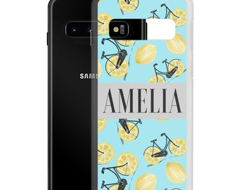 Lemon Bike with Name Samsung Phone Case, Galaxy S21 S20 FE S10 SE Ultra Plus Case, Personalized Birthday Gift, Custom Color, Bicycle Print