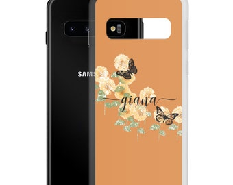 Personalized Name Flower Samsung Phone Case, S21 S20 FE S10E Ultra Plus Galaxy Durable Case, Custom Color, Gift Under 20, Cute Boho Print
