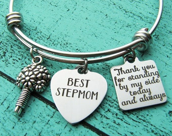 stepmom of the bride gift bracelet, stepmother gift, step mom wedding gift, stepmom of the groom, thank you for standing, best stepmom