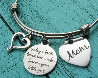Mother of the bride gift, Mom wedding gift from bride, bridal gift for Mom from daughter, today a bride tomorrow a wife, bride's Mom gift