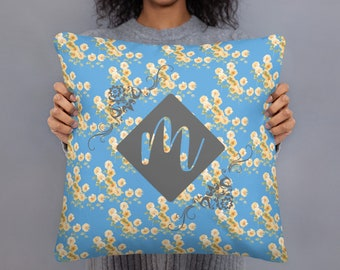 Custom Initial and Color Throw Pillow Case With Insert, Cute Sunflower Art, Gardener Gift, Botanical Plant Flower Pillow Cover, Personalized
