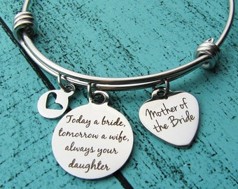 Mother of the bride gift, bridal gift for Mom from daughter, wedding gift for Mom, today a bride tomorrow a wife always your daughter