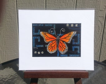 Butterfly Design Original Scratchboard etching with color