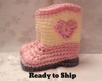 Baby Cowboy Boots Ready to Ship Pink and Off White Crochet baby cowgirl booties 3 to 6 month boots Cowboy booties Baby Girl