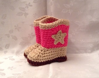 6672b7af3cf Crochet Baby Cowboy Booties Pink and Tan boots Made to Order Baby Cowgirl Boots  Baby Girl Booties Infant Booties