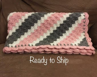 Baby Afghan Pink and Gray Grey Lapghan Ready to Ship Blanket