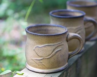 Stoneware Bird Mug, Pottery Mug, Ceramic Mug, Bird, Handmade mug, Mug