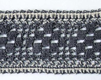 Grey white chunky bobbin lace, vintage austrian