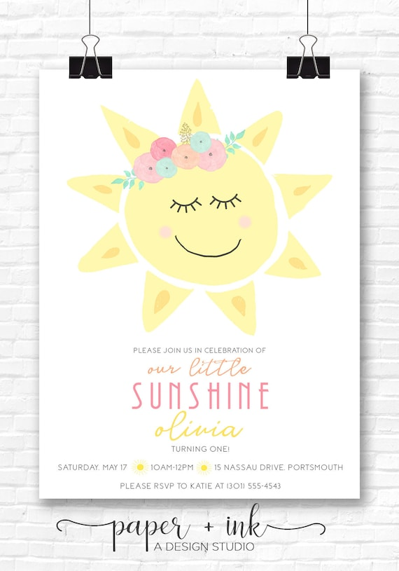 You Are My Sunshine Invitation By Little Laws Prints Catch My Party