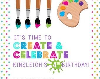 Paintbrush Party Invitations