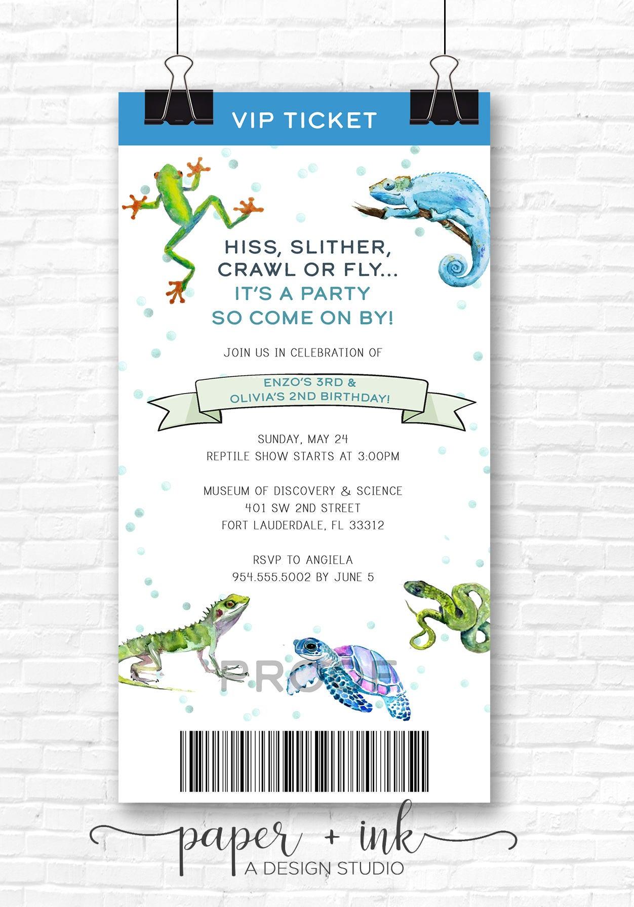 Watercolor Reptile Birthday Party Invitation | Etsy