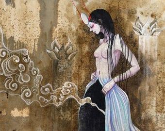 "A4 signed Fine Art Print "" Tarot: The High Priestess"" -lowbrow & pop surrealism art."