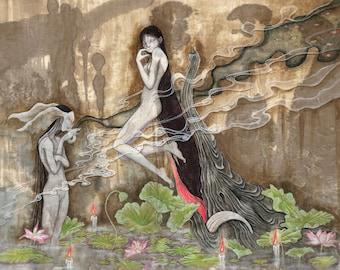 "A4 signed Fine Art Print ""Daydream III"" -lowbrow & pop surrealism art."
