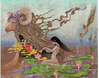 "A4 signed Fine Art Print ""Daydream: Funeral"" -lowbrow & pop surrealism art."
