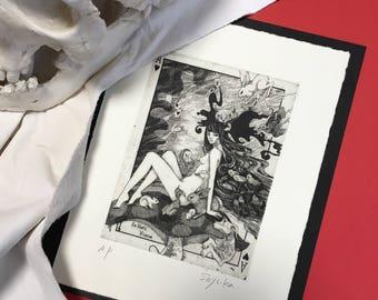 "Signed Copperplate Print ""Alice in Wonderland"" -lowbrow & pop surrealism art."