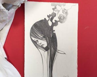 "small Original pencil Sketch""Untitled 224""-lowbrow & pop surrealism art."