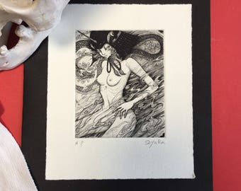 "Signed Copperplate Print ""Spirit Dragon"" -lowbrow & pop surrealism art."