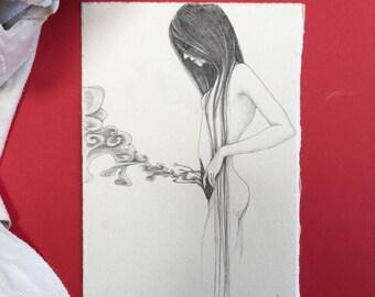 "small Original pencil Sketch""Untitled 226"" -lowbrow & pop surrealism art."