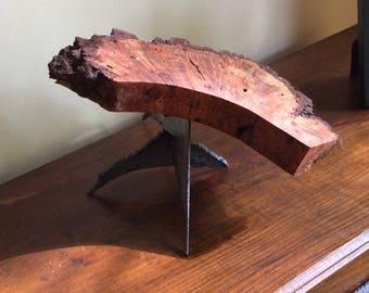 Black Walnut wood sculpture on metal base