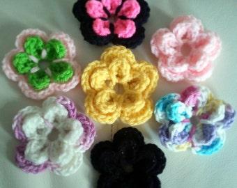 Handmade Crochet Flower Hair Clip **Any Color**