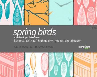 Feathers digital paper, Coral pink, Orange, teal, mint, Digital papers kit, Springs Birds 084, boho