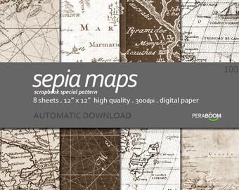 Nautical Scrapbook Paper, Nautical Digital Paper, Brown Digital Paper, Map Digital Paper, Nautical Background, Mens Printable Paper 12x12
