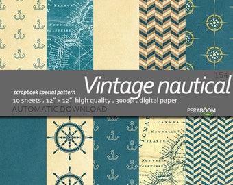 Vintage Nautical digital Paper, Nautical scrapbook Paper, Sea Digital Paper, Map Digital Paper, Nautical Background,Printable Nautical Paper