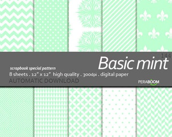 Basic pattern Digital Paper Mint digital paper For cardmaking, invitations, mint scrapbooking paper, Mint backgrounds