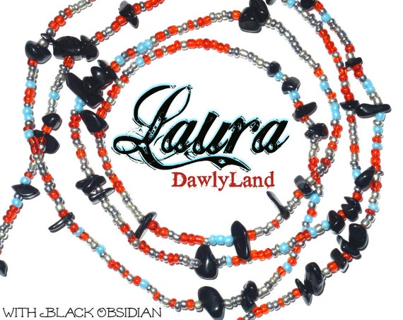 Laura ~ Custom Fit Waist Beads with Black Obsidian