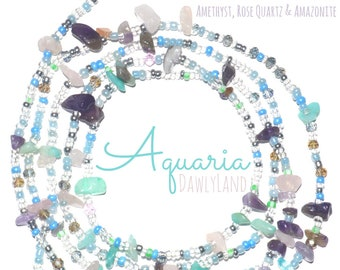Aquaria ~ Custom Fit Waist Beads with Mixed Gemstones