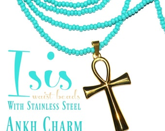 Isis • Deluxe Turquoise WaistBeads with Stainless Steel Ankh Charm