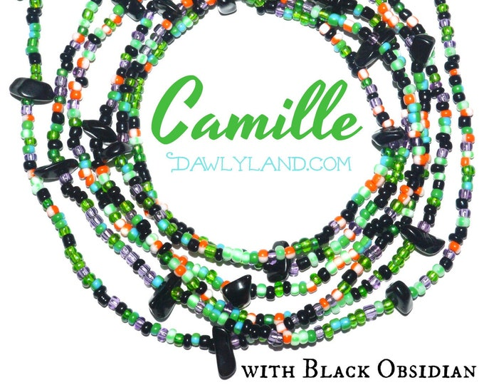 Camille ~ Custom Fit Waist Beads with Black Obsidian