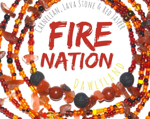 Fire Nation ~ Deluxe Waist Beads with Mixed Gemstones
