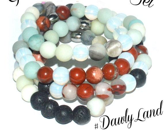4pc Gemstone Bracelet Set ~ The Warrior ~ Opalite Amazonite Red Jasper Lava Stone